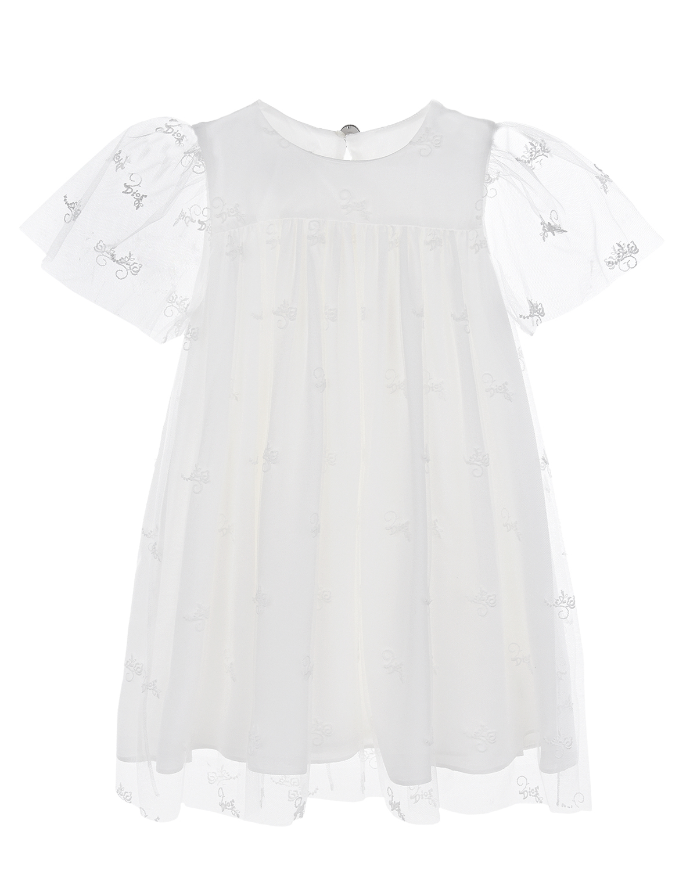 Белое платье с логотипом в тон Dior детское фото