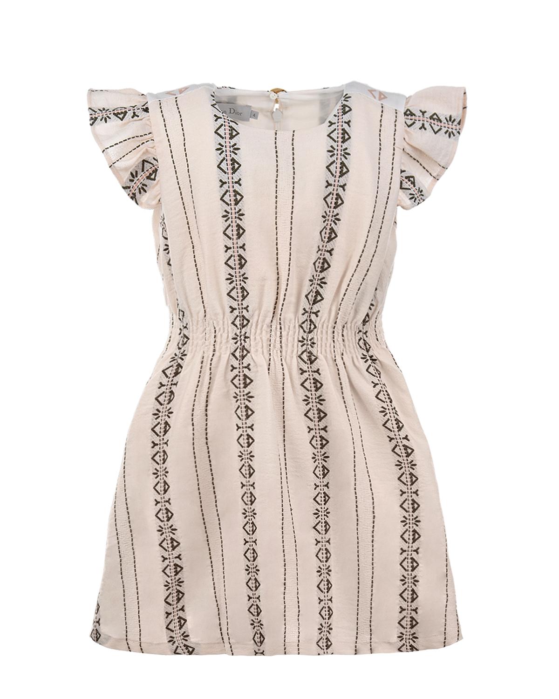 Купить Приталенное платье с рукавами-крылышками Dior детское, Мультиколор, 86% хлопок+11% полиэстер+1% целлюлоза+1% акрил, 100%хлопок
