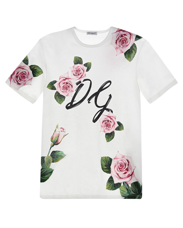 Белая футболка с принтом «Tropical rose» Dolce&Gabbana детская фото