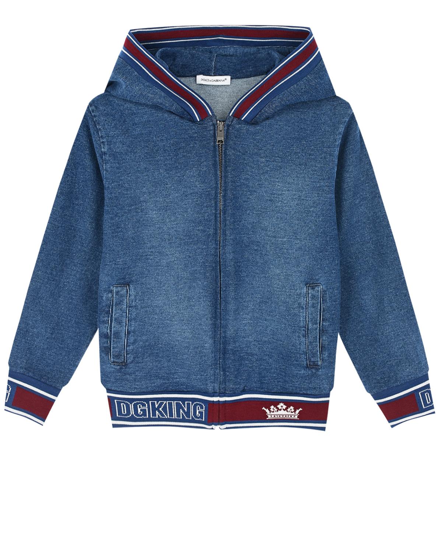 Спортивная куртка из трикотажного денима с контрастной отделкой Dolce&Gabbana детская фото