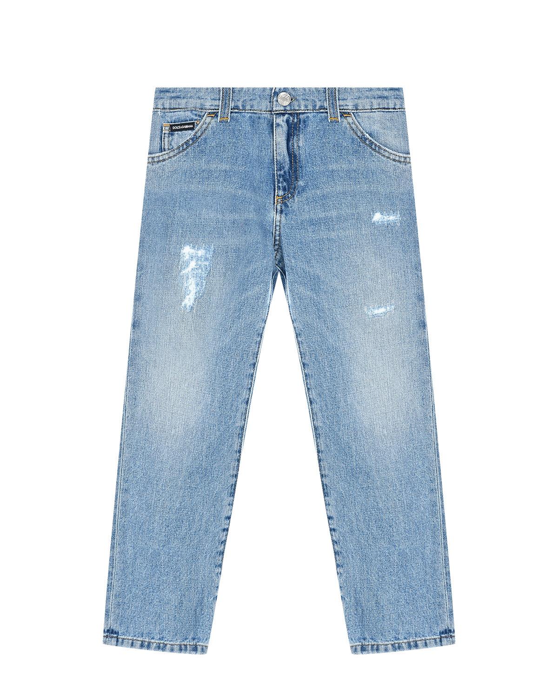 Купить Голубые джинсы regular fit из хлопка Dolce&Gabbana детские, Голубой, 100%хлопок
