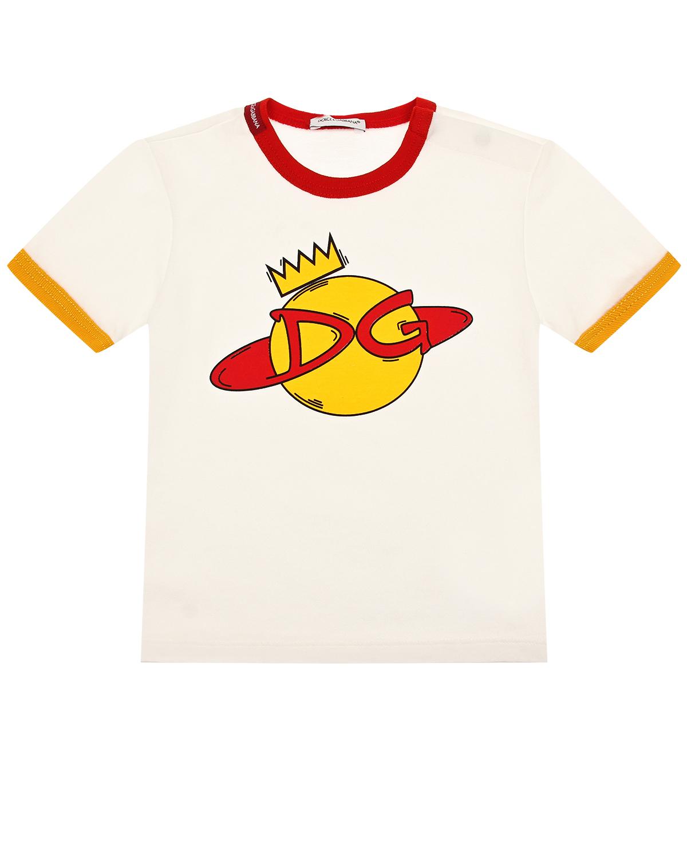 Белая футболка с логотипом и ярким кантом Dolce&Gabbana детская фото