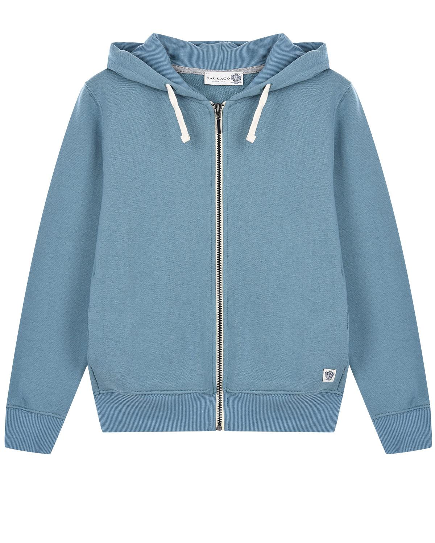 Купить Голубая спортивная куртка с капюшоном Dal Lago детская, Голубой, 100%хлопок, 96%хлопок+4%эластан