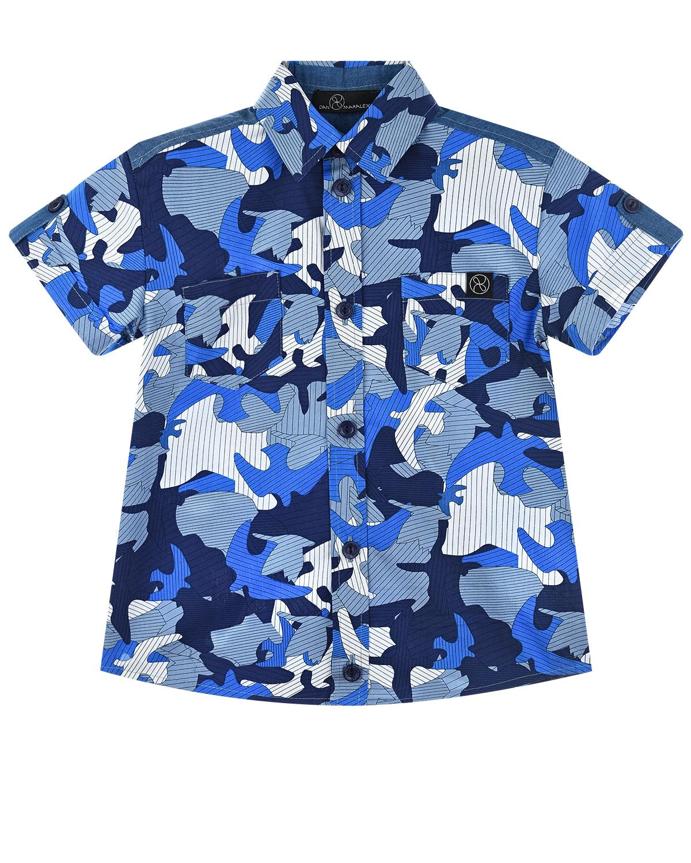 Синяя камуфляжная рубашка с короткими рукавами Dan Maralex детская фото