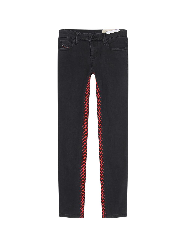 Купить Черные джинсы с контрастной отделкой Diesel детские, Черный, 89%хлопок+8%полиэстер+3%эластан