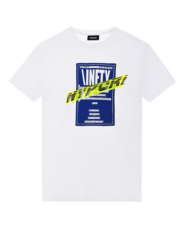 Купить Белая футболка с принтом Diesel детская