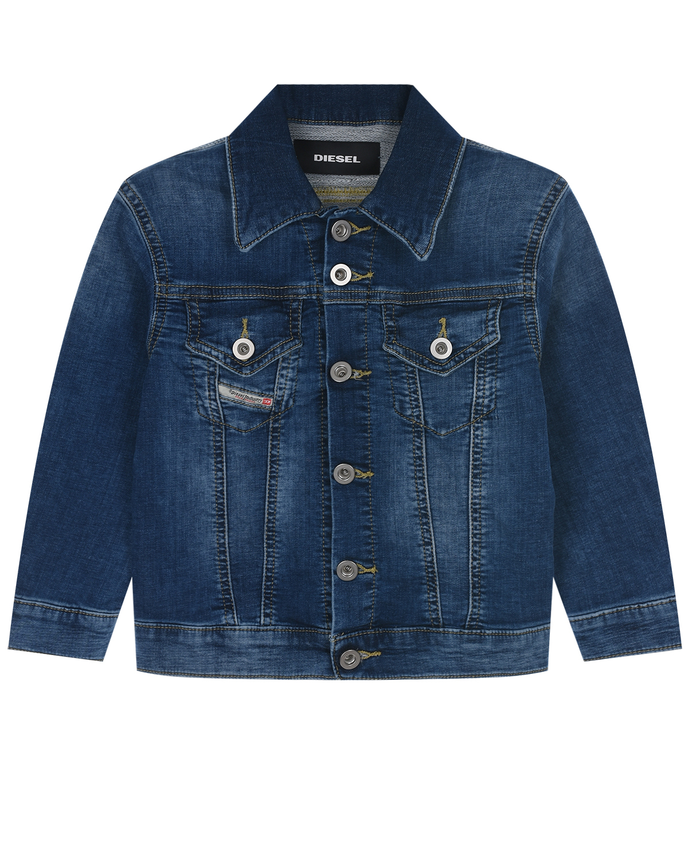 Синяя джинсовая куртка с логотипом на спине Diesel детская фото