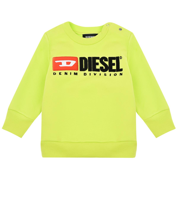 Купить Салатовый свитшот с логотипом Diesel детский, 100%хлопок