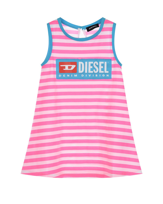 Купить Трикотажное платье в полоску Diesel детское, Мультиколор, 100% хлопок