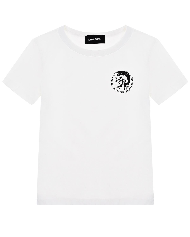 Белая футболка с логотипом Diesel детская фото