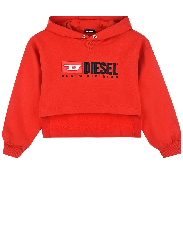 Купить со скидкой Красная толстовка-худи с асимметричным подолом Diesel детская