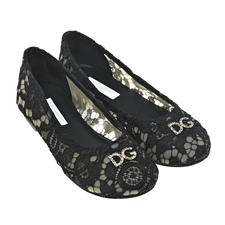 Купить со скидкой Черные кружевные балетки Dolce&Gabbana детские