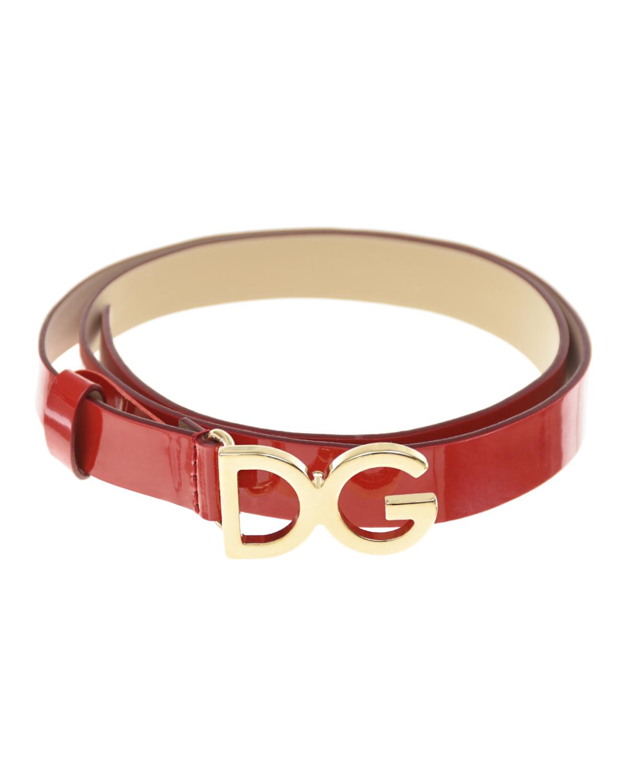 Ремень из красной лакированной кожи Dolce&Gabbana детская фото