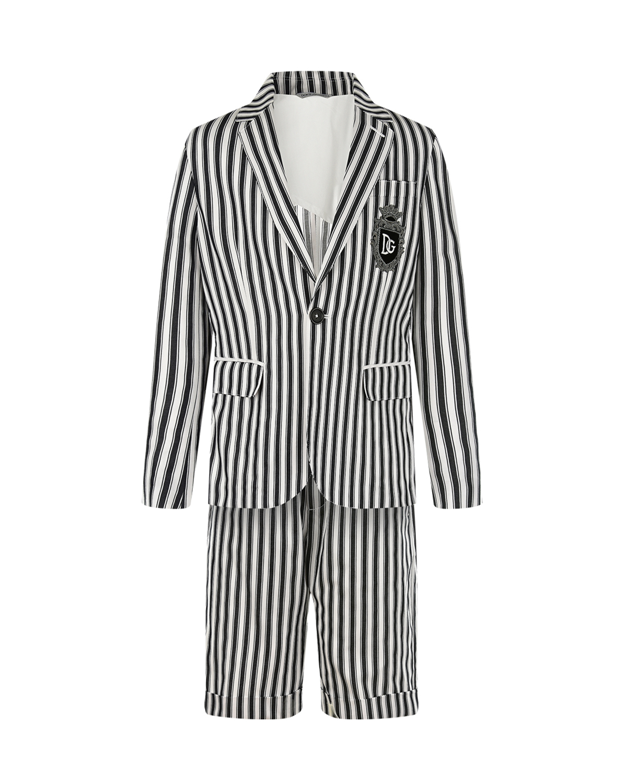 Купить Костюм в полоску (пиджак и шорты) Dolce&Gabbana детский, Мультиколор, 100%хлопок, 20%хлопок+80%вискоза, 65%хлопок+1%эластан+3%полиамид+12%полиэстер+3%металлизированный полиэстер+16%вискоза