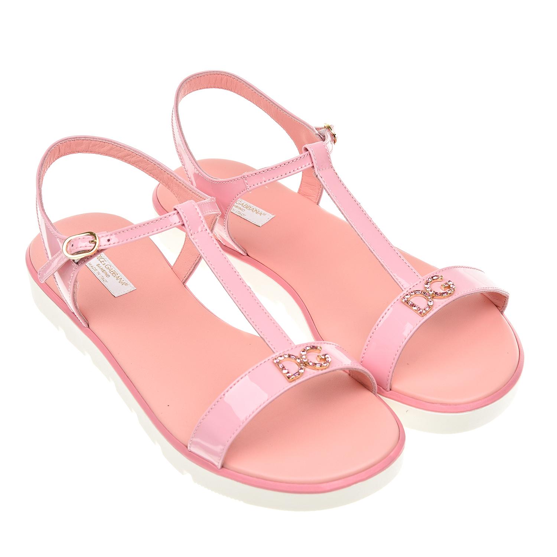 Купить со скидкой Розовые лакированные босоножки Dolce&Gabbana детские