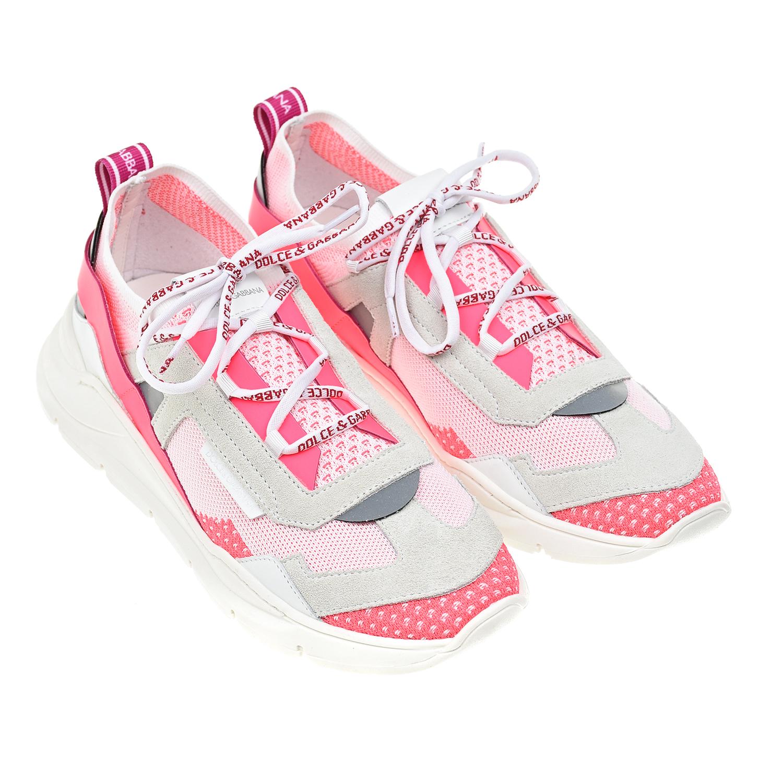 Купить со скидкой Розовые кроссовки с эластичными деталями Dolce&Gabbana детские