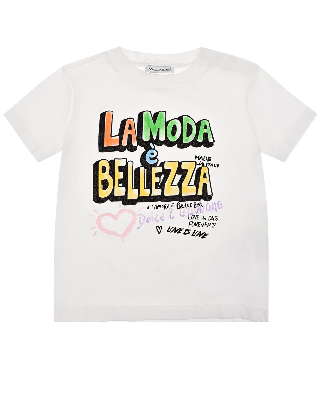 Купить Белая футболка из хлопка с принтом La Moda Bellezza Dolce&Gabbana детская, Белый, 100%хлопок, 25%полиуретан+75%ПВХ