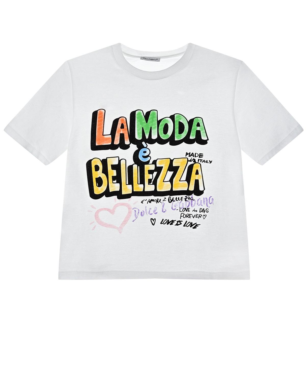 """Футболка с принтом """"La Moda Bellezza"""" белого цвета Dolce&Gabbana детская фото"""