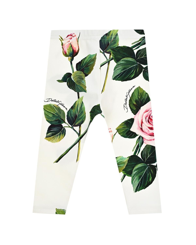 Купить Белые леггинсы с принтом розы Dolce&Gabbana детские, Мультиколор, 90%хлопок+10%эластан