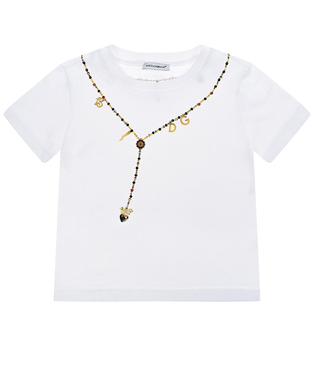 Купить Белая футболка с принтом колье Dolce&Gabbana детская, Белый, 100%хлопок, 95%полиуретан.волокно+3%ABC+1%стекло+1%полиамид