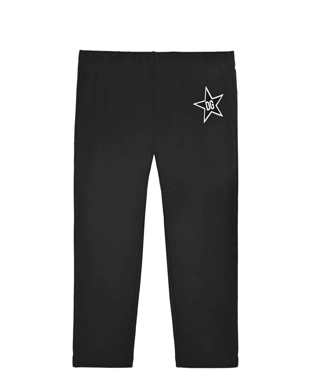 Купить Черные леггинсы с логотипом в звезде Dolce&Gabbana детские, Черный, 90%хлопок+10%эластан, 100%полиуретановое волокно