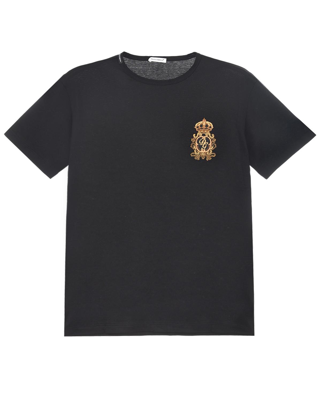 Купить Черная футболка с вышитым логотипом Dolce&Gabbana детская