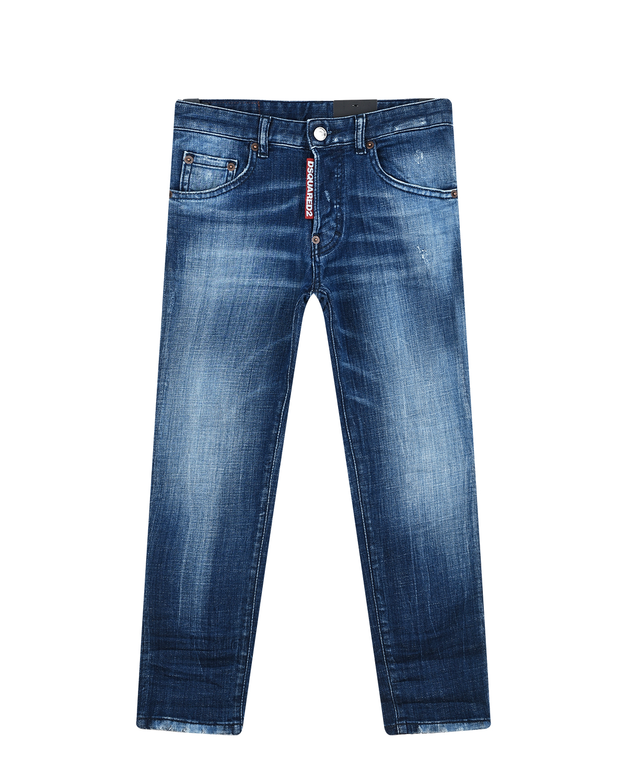 Купить Синие джинсы из потертого денима Dsquared2 детские, Синий, 98%хлопок+2%эластан, 100%нат.кожа
