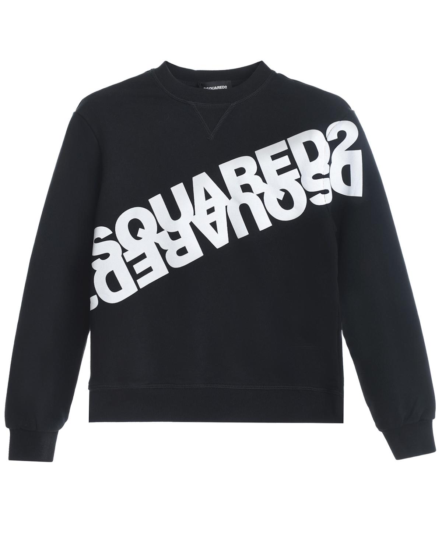 Купить Черный свитшот с белым логотипом Dsquared2 детский