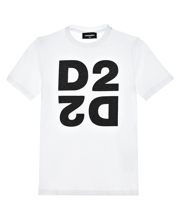 Белая футболка с логотипом Dsquared2 детская фото