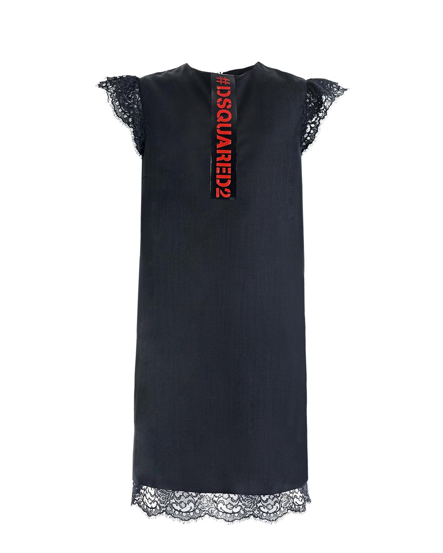 Купить Черное платье с кружэевным декором Dsquared2 детское, Черный, 60%шерсть+35%полиэстер+3%эластан+2%полиамид, 100%нейлон, 100%полиамид, 100%полиуретан, 56%ацетат+44%вискоза