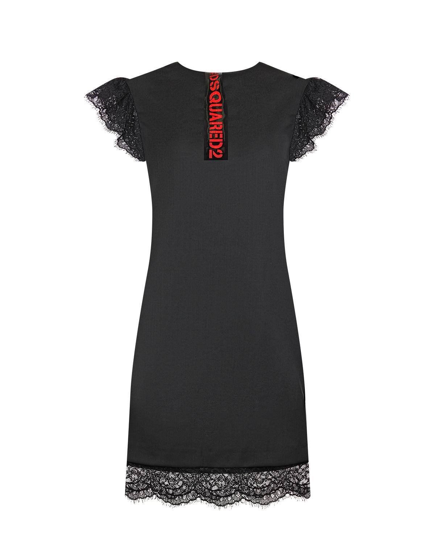 Купить Черное платье с кружевной отделкой Dsquared2 детское, Черный, 60%шерсть+35%полиэстер+3%эластан+2%полиамид, 100%нейлон, 100%полиамид, 100%полиуретан, 56%ацетат+44%вискоза