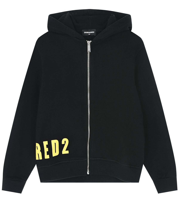 Купить Черная спортивная куртка с желтым логотипом Dsquared2 детская, Черный, 100% хлопок, 95% хлопок+5% эластан
