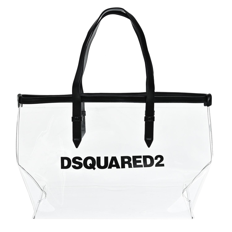 Купить Прозрачная сумка-шопер с логотипом, 37x29x18 см Dsquared2 детская, Черный, 100%ПВХ, 100%полиуретан