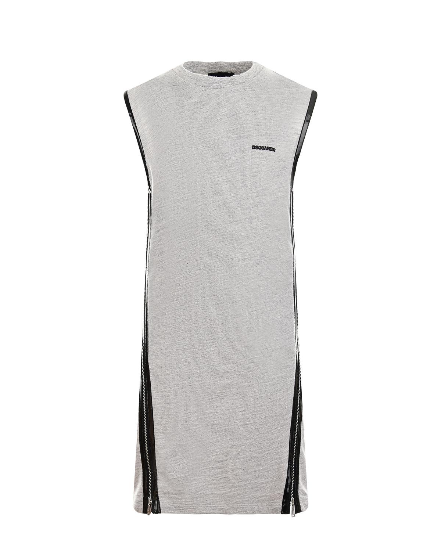 Купить Серое трикотажное платье Dsquared2 детское, Серый, 92%хлопок+8%вискоза, 83%хлопок+11%вискоза+6%эластан