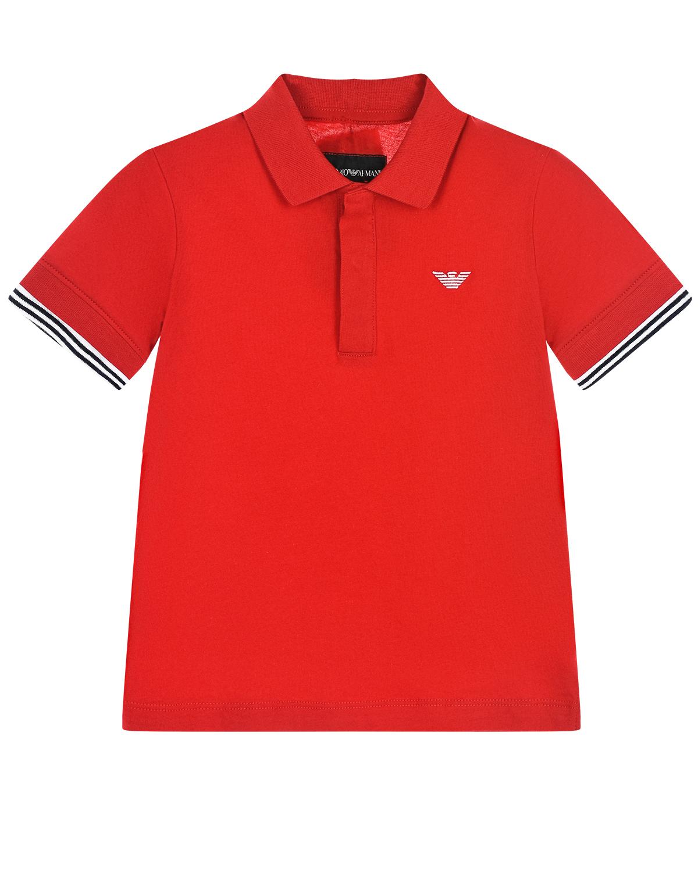 Купить Красная футболка-поло Emporio Armani детская, Красный, 100%хлопок