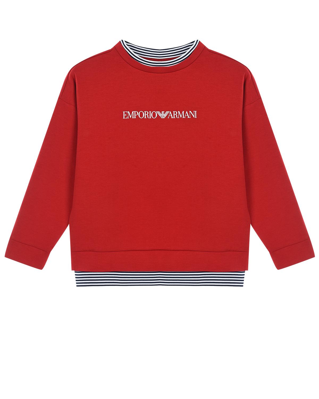 Купить Красный свитшот с отделкой в полоску Emporio Armani детский, 79%хлопок+17%полиэстер+4%эластан, 97%полиэстер+3%эластан