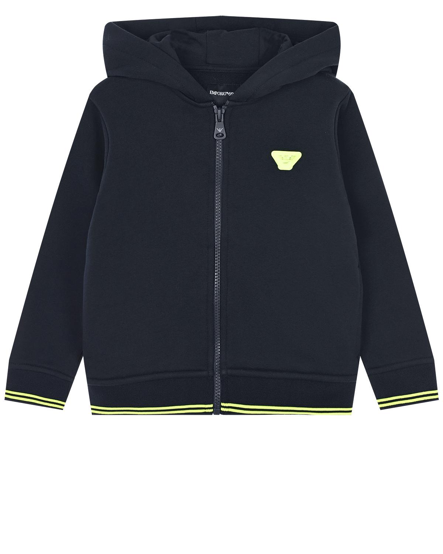 Купить Темно-синяя спортивная куртка на молнии Emporio Armani детское, Синий, 100%хлопок, 100%полиэстер