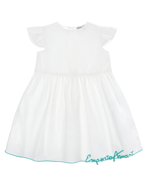 Купить Белое платье с вышивкой на подоле Emporio Armani детское, Белый, 96%хлопок+4%эластан, 100%хлопок