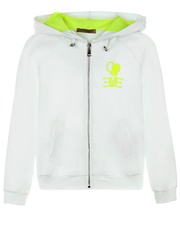 Купить Белая спортивная куртка с принтом воздушные шарики Ermanno Scervino детская, Белый, 94%хлопок+6%эластан, 100%полиэстер, 100%вискоза, 59%хлопок+41%вискоза