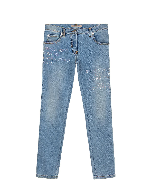 Купить Голубые джинсы со стразами Ermanno Scervino детские, Голубой, 98%хлопок+2%эластан, 65%полиэстер+35%хлопок
