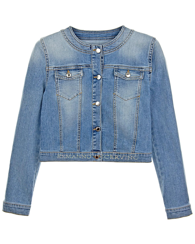 Голубая джинсовая куртка со стразами Ermanno Scervino детская фото