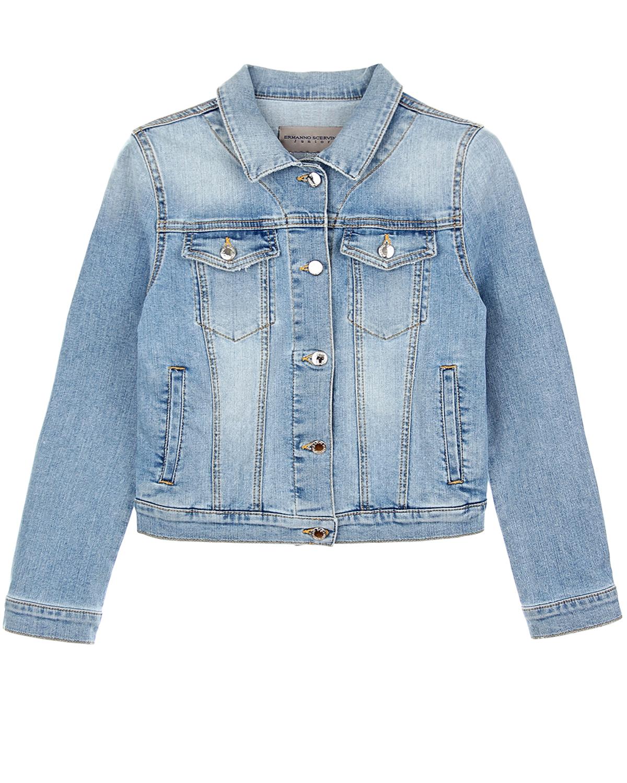 Купить Джинсовая куртка со стразами Ermanno Scervino детская, Голубой, 98%хлопок+2%эластан, 100%полиаммид, 100%стекло