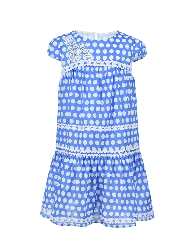 Купить Голубое платье в белый горох Ermanno Scervino детское, Мультиколор, 100%хлопок, 76%хлопок+16%полиэстер+8%полиамид, 100%полиэстер