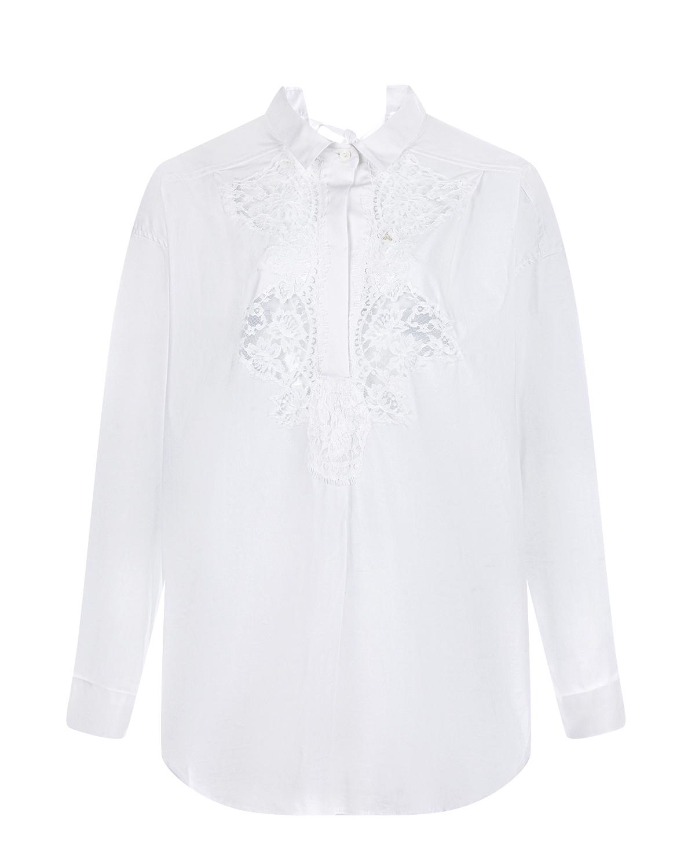 Белая рубашка с кружевной отделкой Ermanno Ermanno Scervino фото