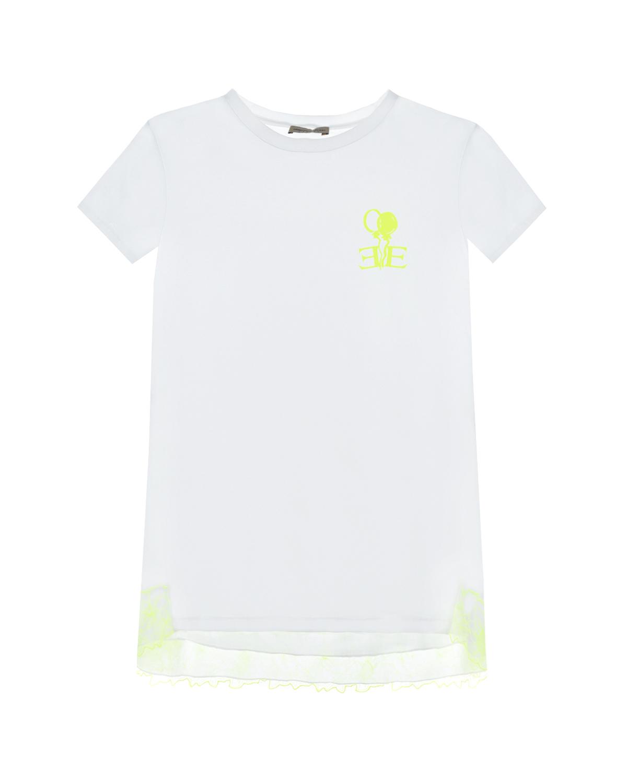 Купить Белая футболка с кружевной отделкой Ermanno Scervino детская, Белый, 93% хлопок+7% эластан, 100% хлопок, 100% вискоза, 68% полиамид+32% полиэстер