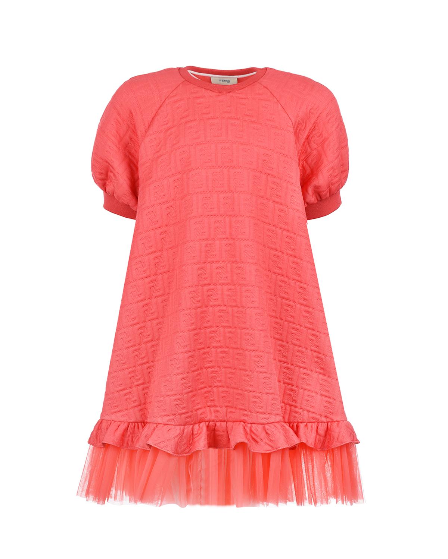 Платье кораллового цвета с рюшами Fendi детское фото