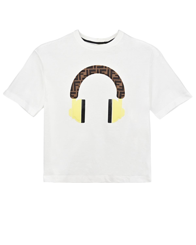 футболка с принтом fendi для девочки