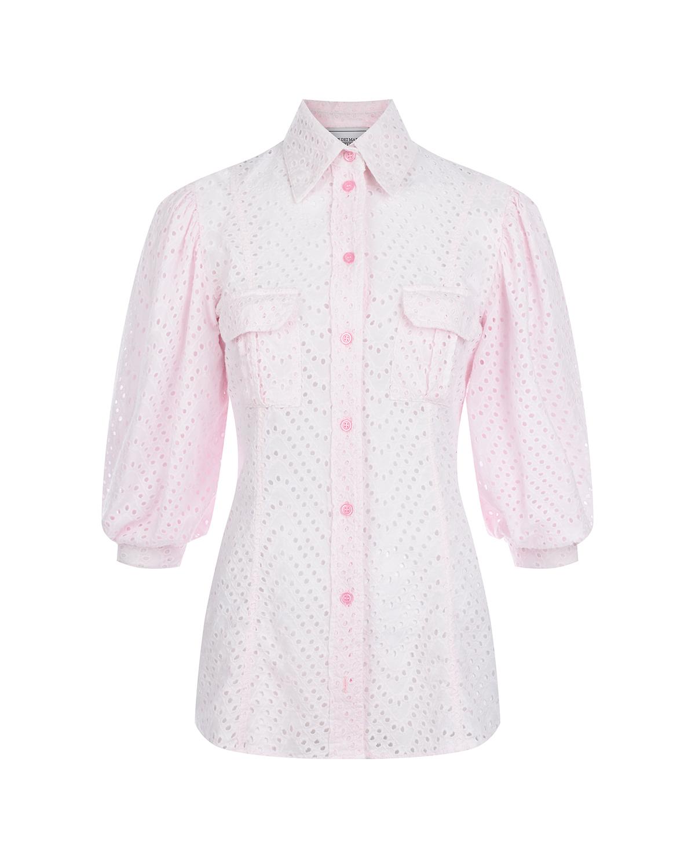 Розовая джинсовая рубашка с перфорацией Forte dei Marmi Couture.