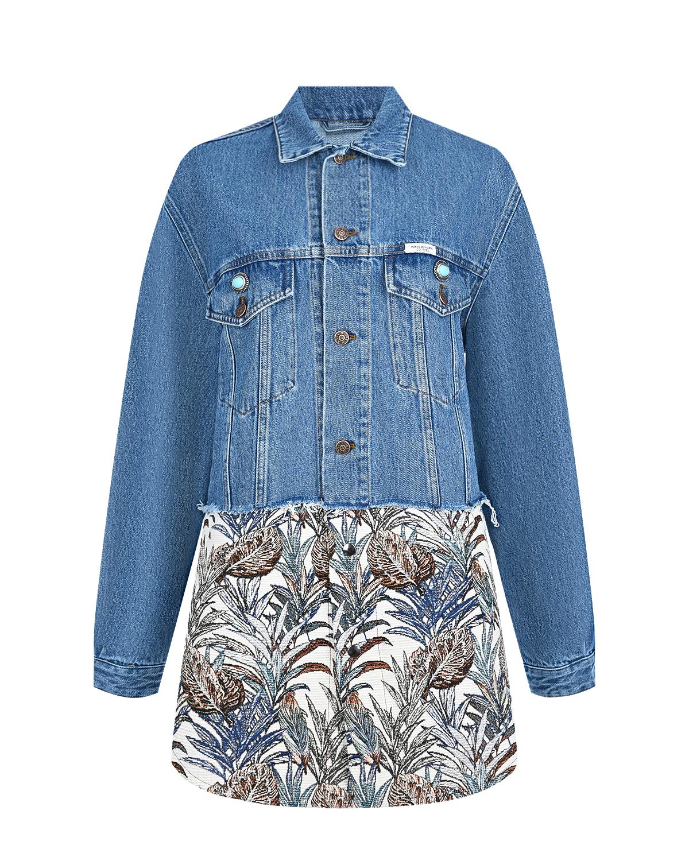 Синяя джинсовая куртка с гобеленовым подолом Forte dei Marmi Couture.