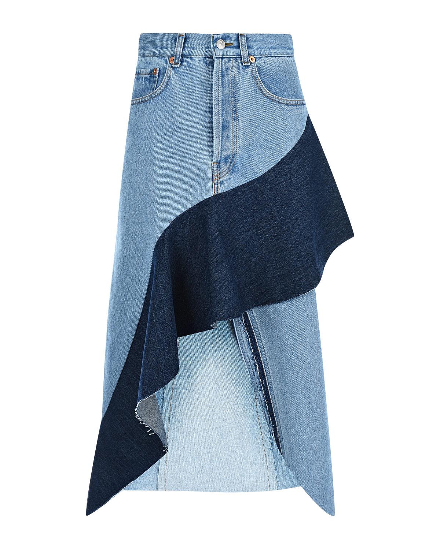 Джинсовая юбка с темным воланом Forte dei Marmi Couture.